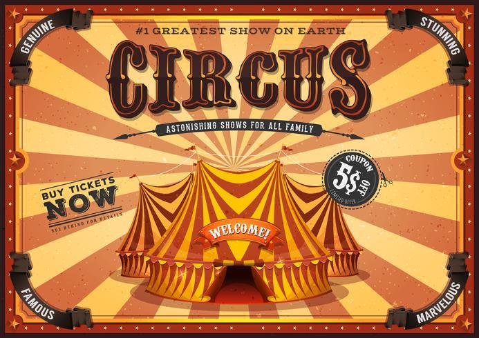 Cartel amarillo del circo del vintage con el top grande