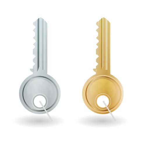 Ícone de chave dourada e prata vetor