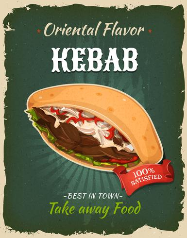 Cartaz retro do sanduíche do no espeto do fast food