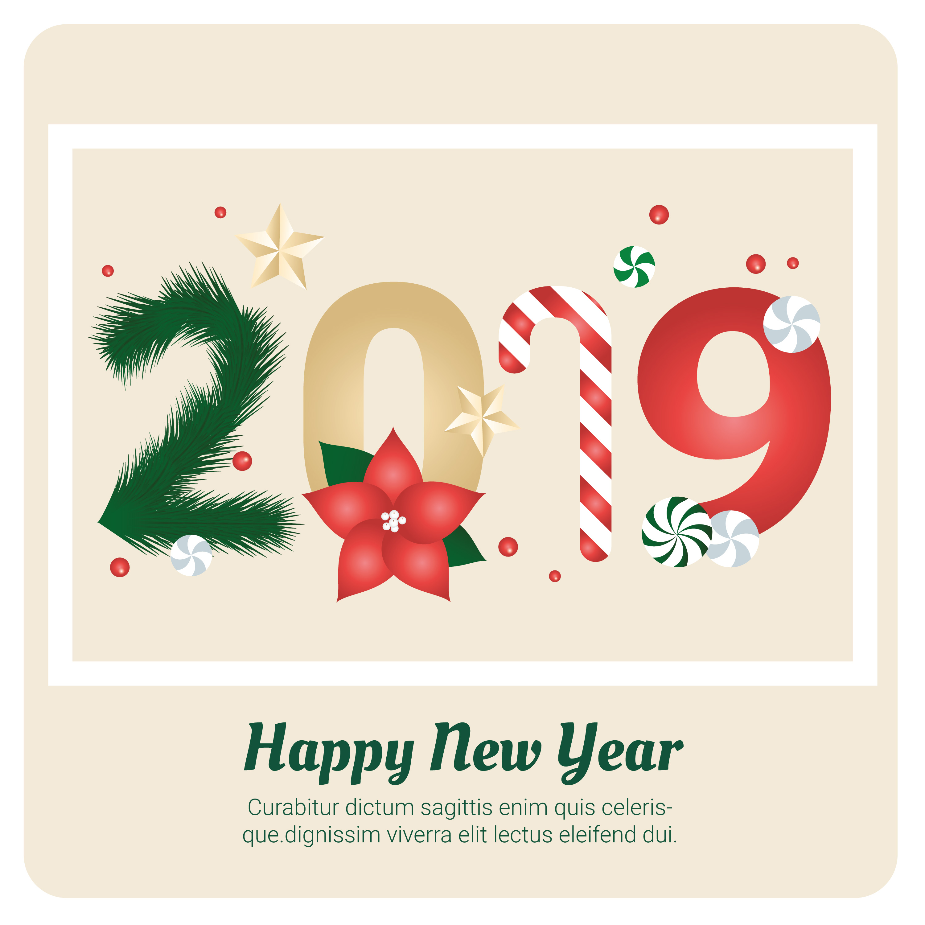 Vector New Year Greeting Card Design - Download Free ...