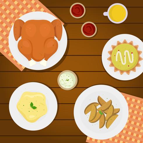 Thanksgiving Table Overhead Vector Illustration