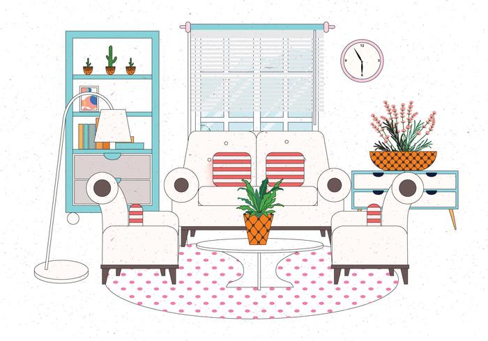 Cozy Settings Living Room Vector