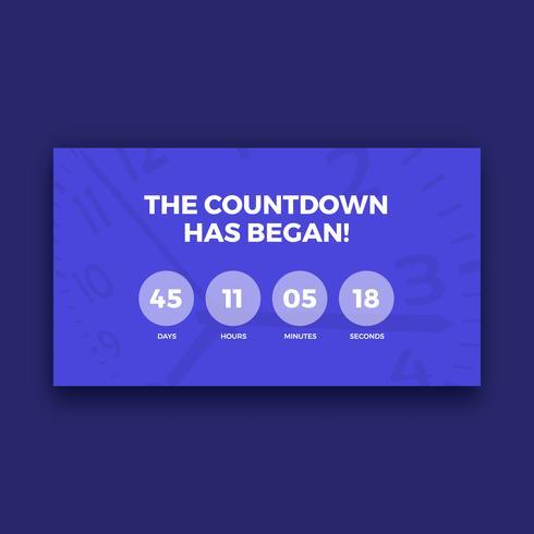 Schermo del timer per il conto alla rovescia, colore viola
