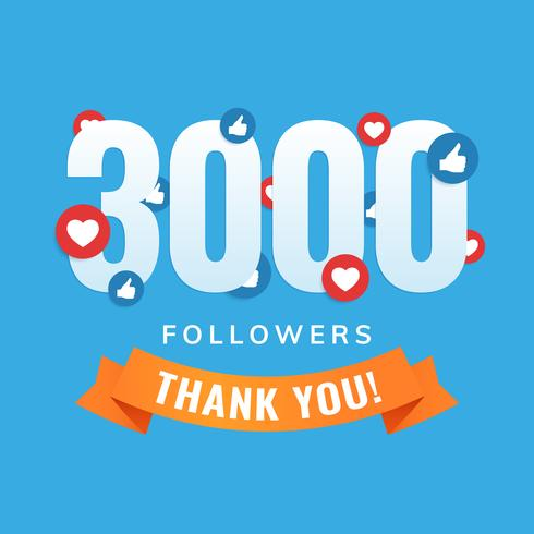 3000 followers, social sites post, greeting card
