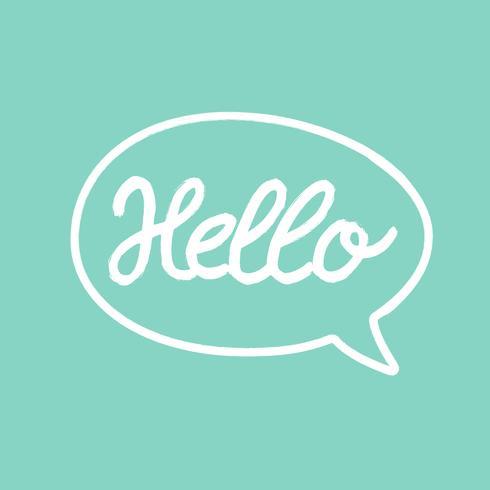 Hello word calligraphy design, turquoise background, illustration