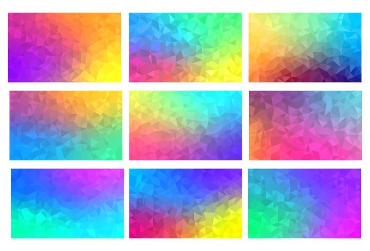 Polygon vector mosaic backgrounds set, colorful abstract patterns, illustration