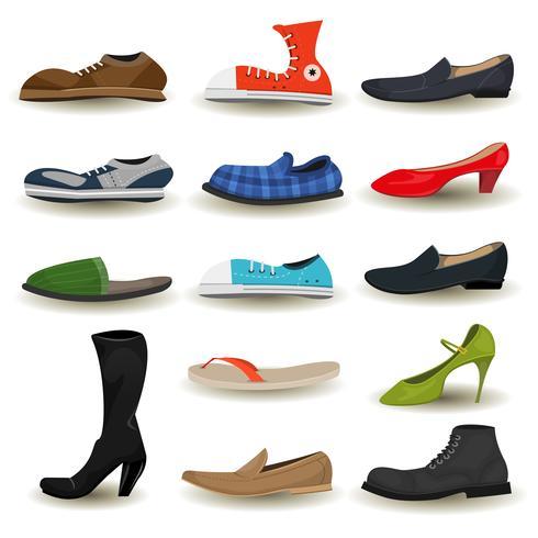Schuhe, Stiefel, Sneakers und Schuhe Set vektor