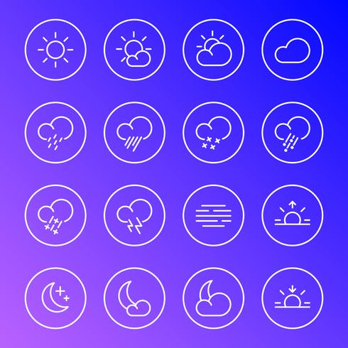 Iconos del tiempo, símbolos de línea simple de meteorología, ilustración