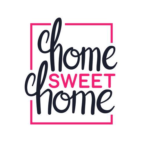 Hem söt hem, konst bokstäver design, illustration