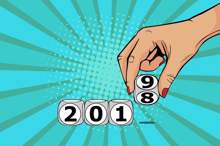 Cube d'interrupteur main femme de 2018 à 2019. Illustration vectorielle dans un style bande dessinée rétro pop art.