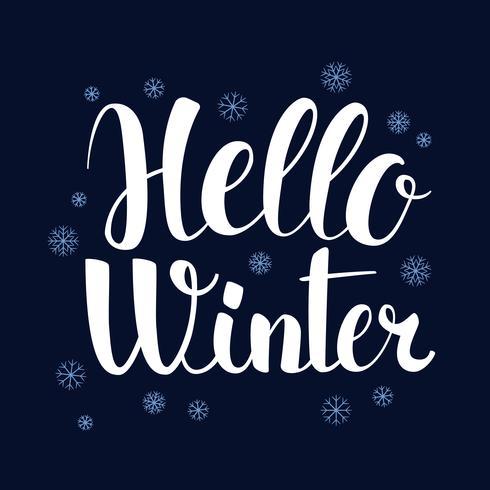 Ciao inverno, progettazione dell'insegna di stagione di calligrafia, illustrazione