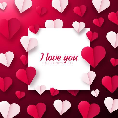 Fond de Saint Valentin avec des coeurs en papier origami divisés en deux.