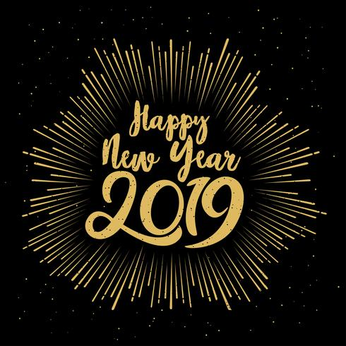 Happy Typographical 2019 New Year lettering vector