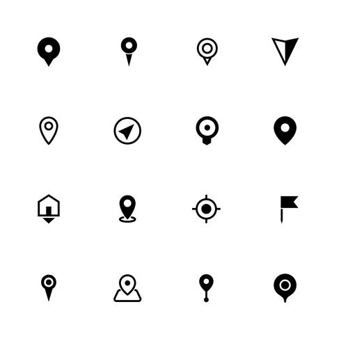 Mapa de la colección de iconos de ubicación, símbolo para aplicaciones, sitios web o impresión