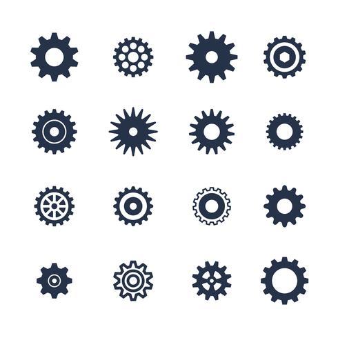 Il simbolo dei denti ha messo su fondo bianco, icona delle regolazioni, illustrazione vettore
