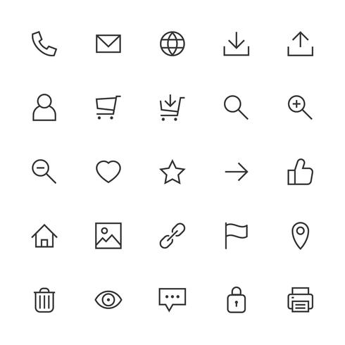 Most used webdesign icons, ui set vector