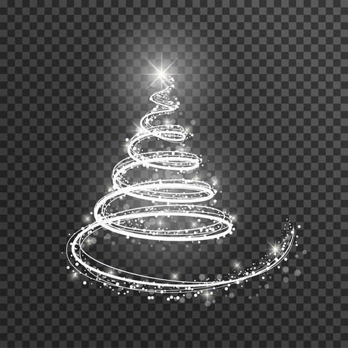 Julgran på transparent bakgrund. Vitt ljus julgran som symbol för Gott Nytt År.