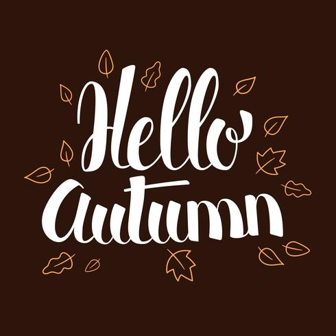 Hallo Herbst, Kalligraphiesaison-Fahnendesign, Illustration vektor