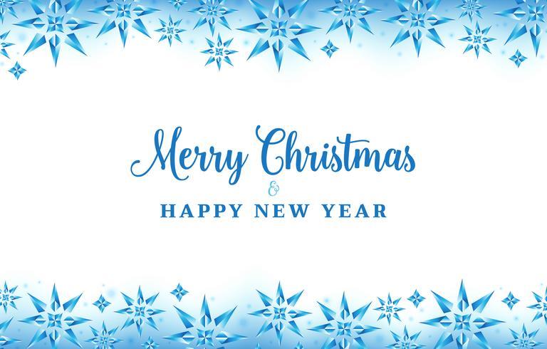 Weihnachtshintergrund mit blauer Farbe der Kristallschneeflocken
