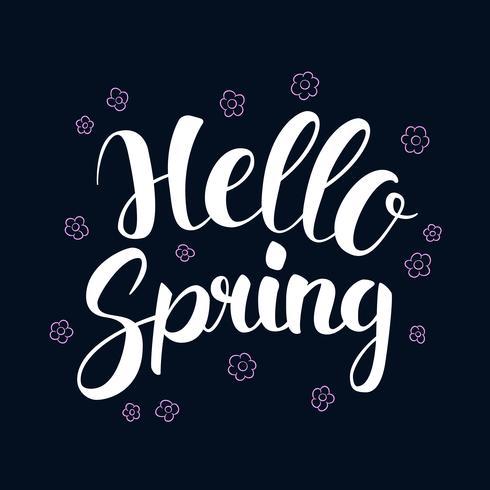 Bonjour printemps, conception de bannière de saison de calligraphie, illustration vecteur