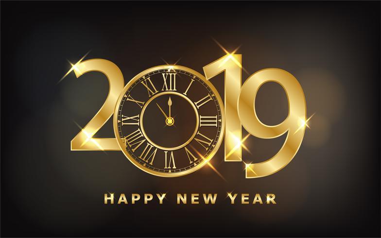 Frohes Neues Jahr 2019 - Glänzender Hintergrund mit goldener Uhr und Glitzer