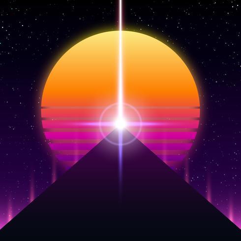 Synthwave retro design, Pyramid, ray and sun, illustration