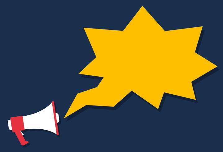 Estilo de ícone de megafone dos desenhos animados, conceito de marketing
