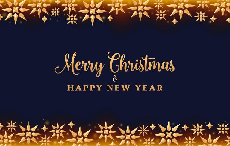 Fondo navideño con estrellas de cristal dorado, diseño de vacaciones.