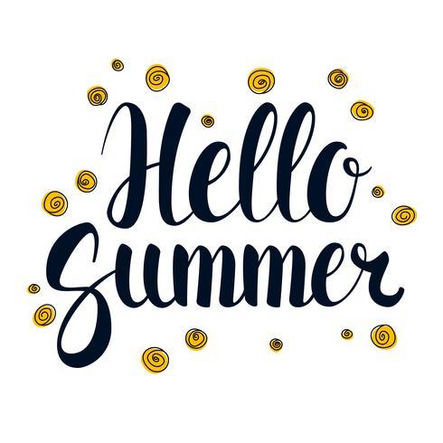 Hello Summer, Calligraphy season banner design, illustration