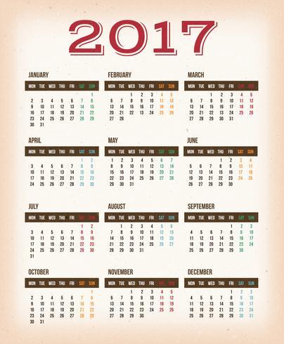 Calendrier de conception vintage pour l'année 2017 vecteur
