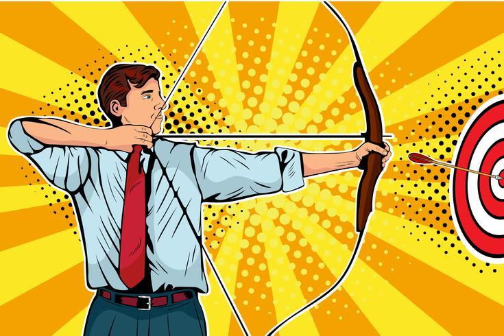 Homme d'affaires avec arc, flèche et cible. Homme archer ciblant au centre. Objectifs commerciaux, concept de réussite. Illustration de pop art rétro vectro.