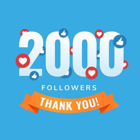 2000 seguidores, publicación en redes sociales, tarjeta de felicitación.