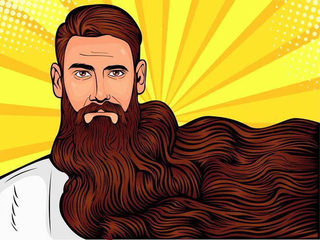 Vector la ilustración del arte pop de un hombre barbudo brutal, macho con una barba muy larga sobre toda la imagen
