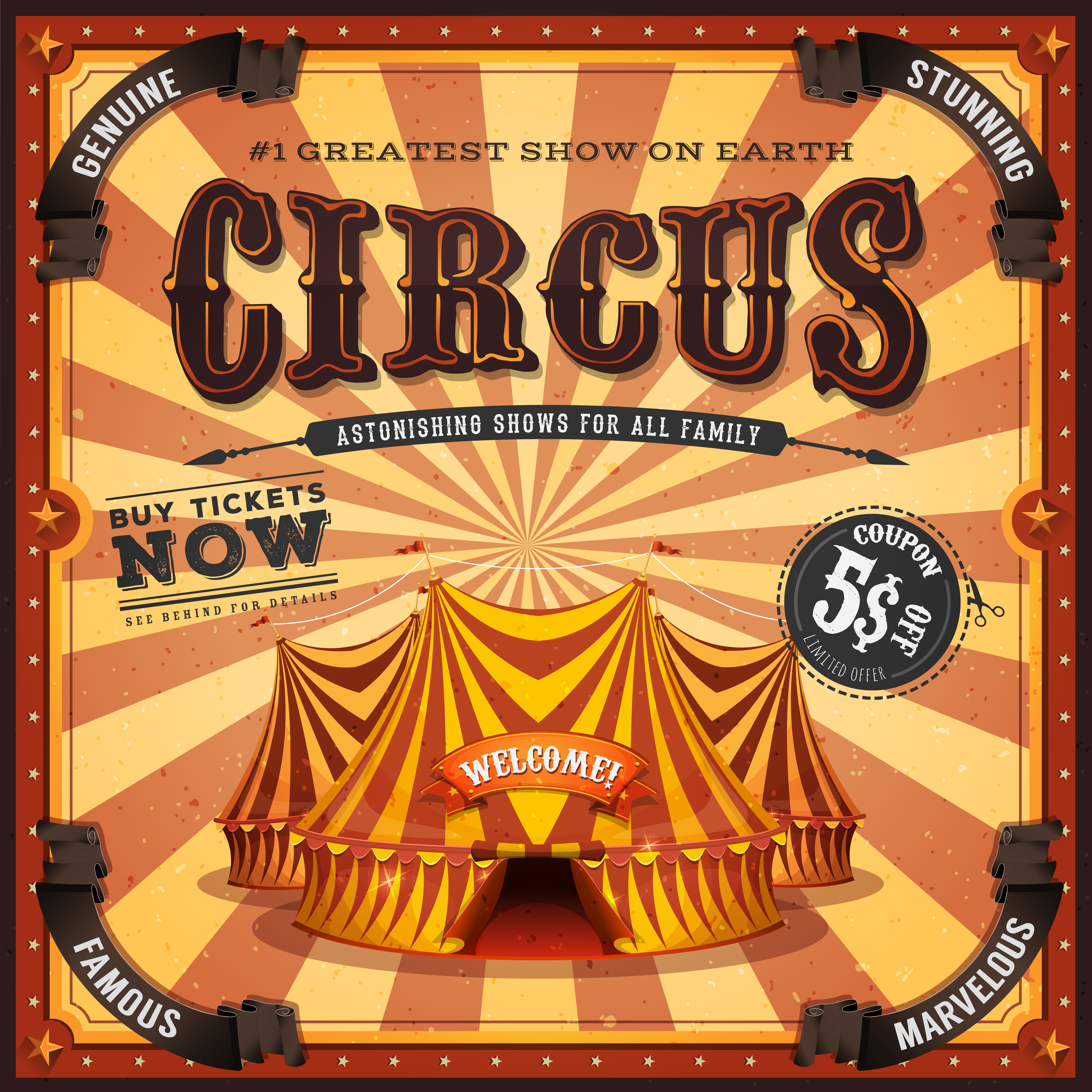 Vintage Ribbon Banners:  Vintage Square Circus Poster 265930