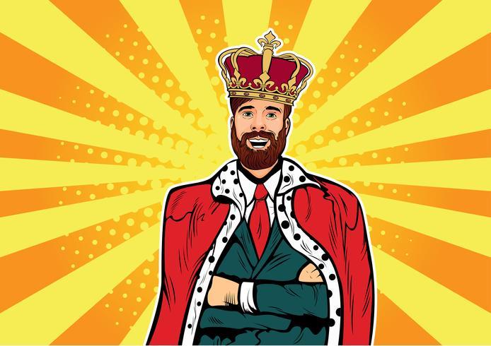 Hipster Business König. Kaufmann mit Bart und Krone. Menschenführer, Erfolgschef, menschliches Ego. Komische ertrinkende Illustration der Pop-Art des Vektors Retro.