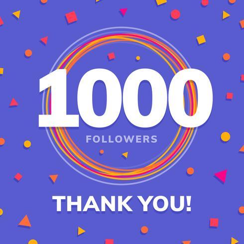 1000 seguidores, post de sites sociais, cartão de felicitações