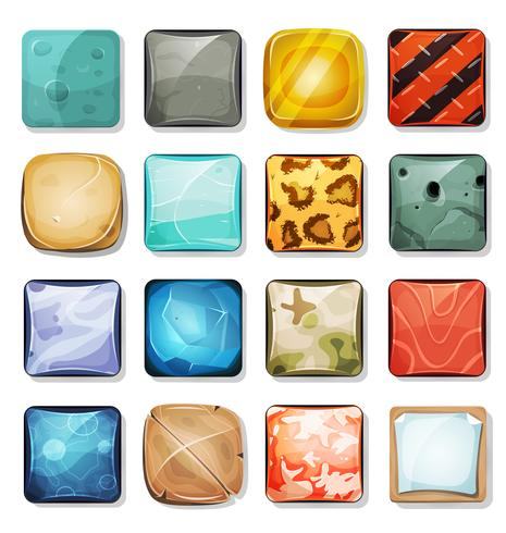 Botones e iconos establecidos para la aplicación móvil y el juego Ui