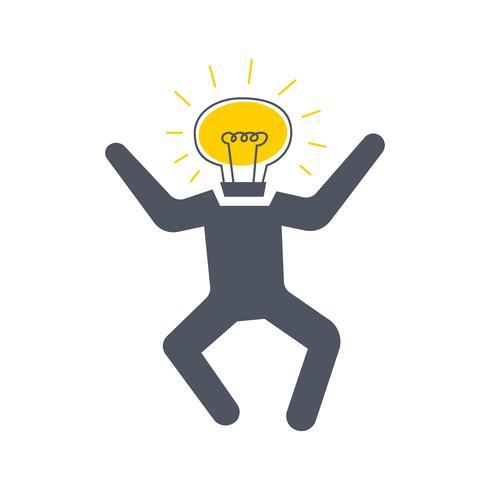 Hombre con una bombilla en lugar de una cabeza saltando, Nuevo concepto de idea