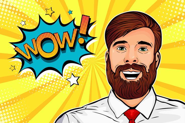 Wow cara pop hipster masculino del arte pop. Joven sorprendido hombre con barba y abrir la boca Wow bocadillo. Ilustración colorida del vector en estilo cómico retro.