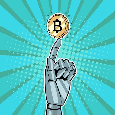 Main robotique tenant une main doréeRobotique tenant bitcoin doré. Illustration vectorielle dans le style pop art rétro style Bitcoin. Illustration vectorielle dans un style bande dessinée rétro pop art