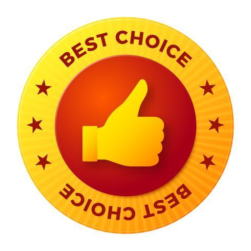 Melhor escolha rótulo, selo redondo para produtos de alta qualidade