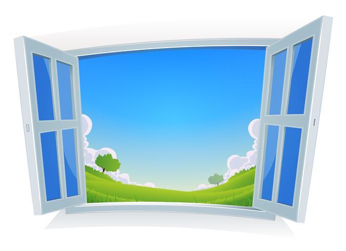 Primavera o estate paesaggio dalla finestra vettore