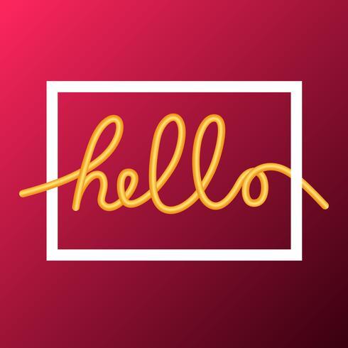 Hello word, calligraphy design, illustration