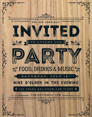 Muestra de la invitación del partido del vintage vector