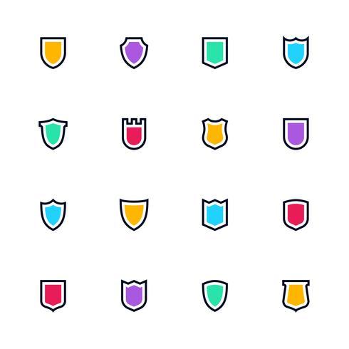Sheild-Ikonensatz, einfache flache Symbole, Schutzpiktogramme
