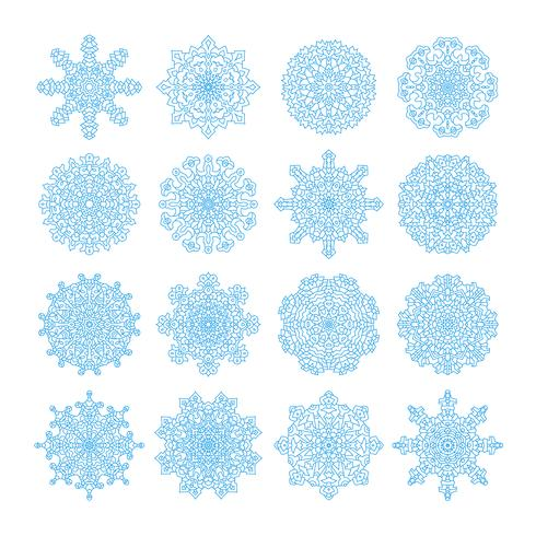 Snowflake vector symbols, christmas snow icons set