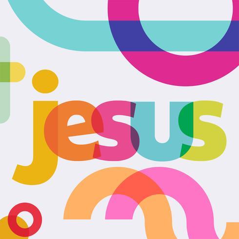Colorido Jesús Letering diseño vectorial