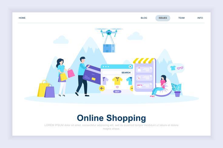 Compras en línea moderno concepto de diseño plano
