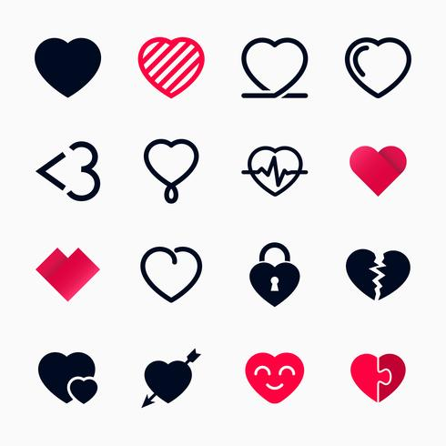 Heart symbol set for Valentines Day vector