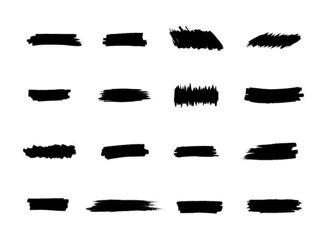 Penseelstreken ingesteld, zwarte handverf strepen vector